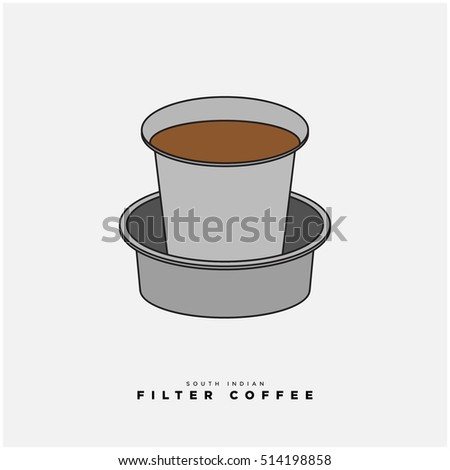South Indian Filter Coffee Vector Illustration In Flat Style Design