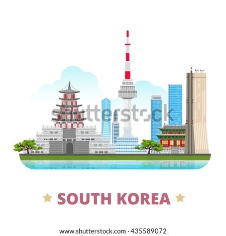 South Korea country design flat cartoon style historic place vector illustration. World vacation travel sightseeing Asia collection. Gyeongbokgung Palace 63 building Natinal Folk Museum N Seoul Tower. - stock vector