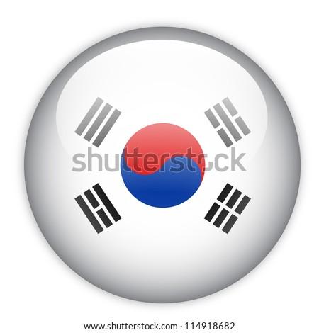 South Korea flag button on white - stock vector