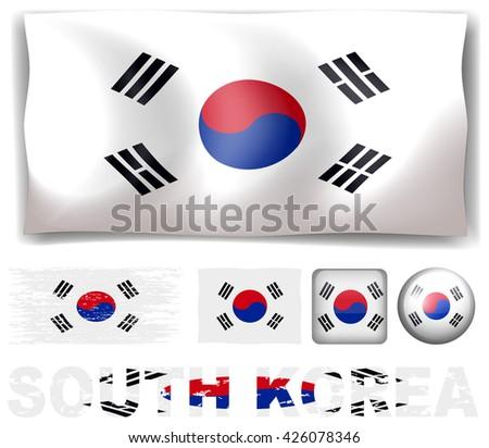 South Korea flag in different designs illustration - stock vector