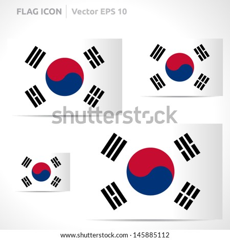 South Korea flag template   vector symbol design   color white red black and blue   icon set - stock vector