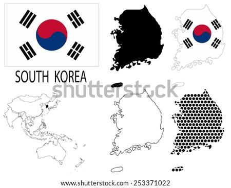 South Korea - Four optional contour maps, National flag and Asia map vector