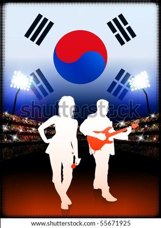 South Korea Live Music Band on Stadium Concert Background with Flag Original Illustration - stock vector