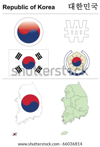 South Korea (Republic of Korea) collection including flag, map (administrative division), symbol, currency unit & glossy button - stock vector