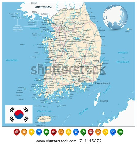 South Korea Road Map Colorful Map Stock Vector 711115672 Shutterstock