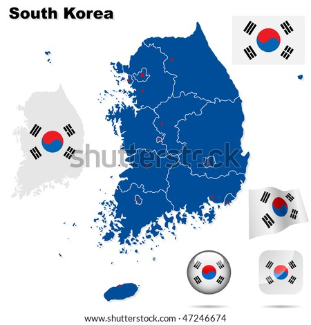 South Korea  vector set. Detailed country shape with region borders, flags and icons isolated on white background. - stock vector