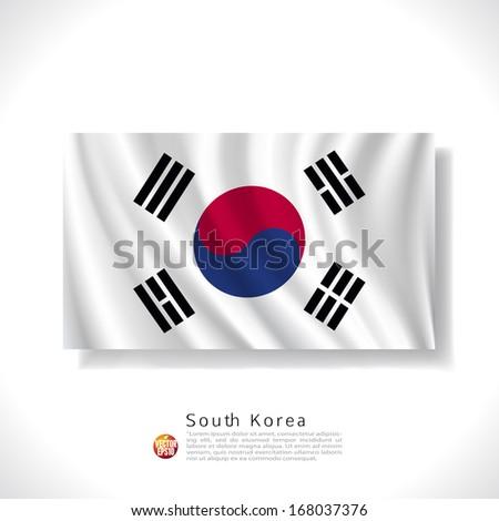 South Korea waving flag isolated against white background, vector illustration  - stock vector
