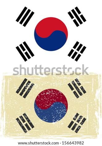 South Korean grunge flag. Vector illustration. - stock vector
