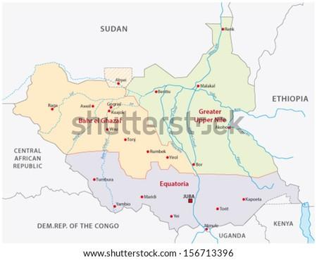 south sudan administrative map - stock vector