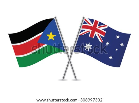 South Sudan and Australia flags. Vector illustration.