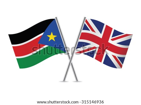 South Sudan and Britain flags. Vector illustration.