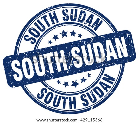 South Sudan blue grunge round vintage rubber stamp.South Sudan stamp.South Sudan round stamp.South Sudan grunge stamp.South Sudan.South Sudan vintage stamp.