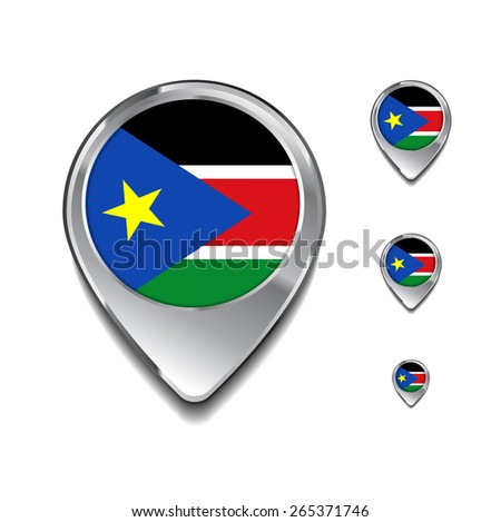 South Sudan flag map pointer. 3d Map Pointer with flag glossy button style on gray background - stock vector