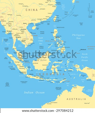 Southeast Asia map - highly detailed vector illustration