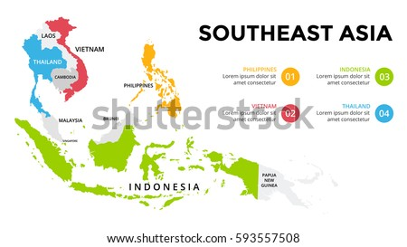Southeast Asia Map Infographic. Slide Presentation. Global Business  Marketing Concept. Color Country.