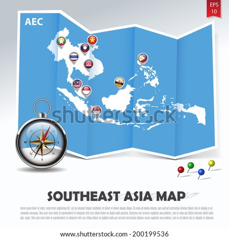 southeast asia map with aec member national flags in location balloons on blue paper fold next to a compass and colorful pins, abstract vector illustration - stock vector