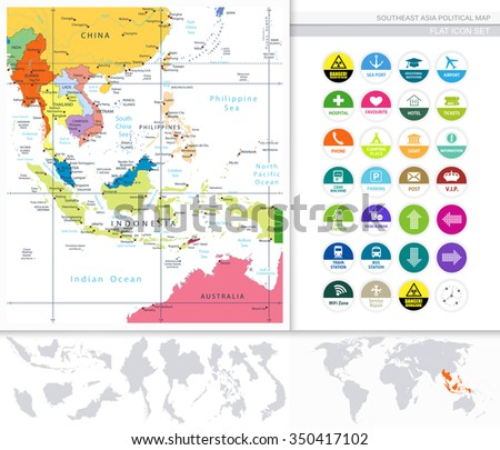 Southeast Asia Political Map and Flat Icon Set. All elements are separated in editable layers clearly labeled. - stock vector