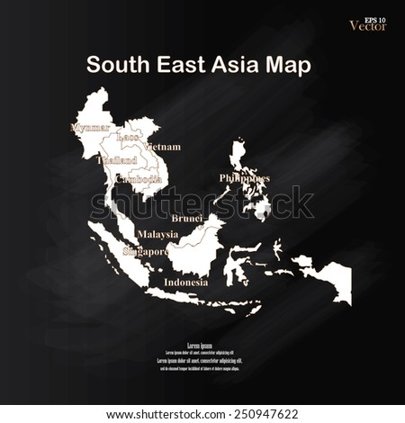 Southeast Asians map vector on chalkboard. - stock vector