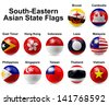 Southern-Eastern Asian State Flags - stock vector