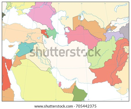 Southwest Asia Map No Text Isolated Stock Vector 705442375 ...