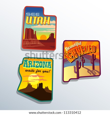 Southwest United States Arizona New Mexico Utah vector  illustrations designs - stock vector
