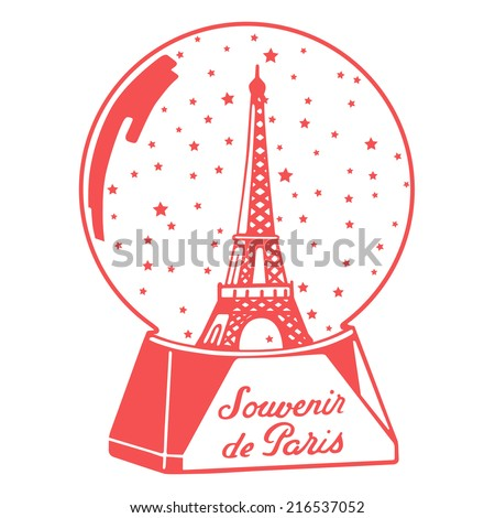 Souvenir de Paris  / Paris memories / vector icon of tour eiffel in a snow globe / vector icon - stock vector