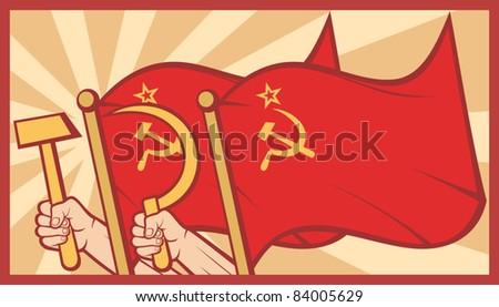 soviet flag poster (ussr) - stock vector