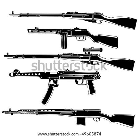 Soviet guns - stock vector