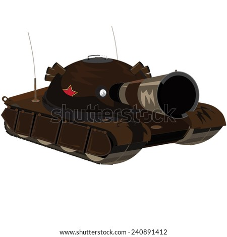 Soviet Tank. A vintage old soviet or russian tank with large metal barrel facing forward in a aggressive fashion. - stock vector