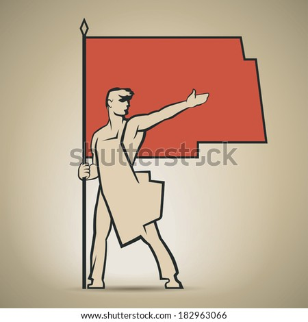 Soviet worker with red flag in his hand showing the way to communism vector illustration - stock vector