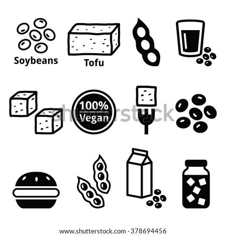 Soy beans, soya, tofu icons set  - stock vector