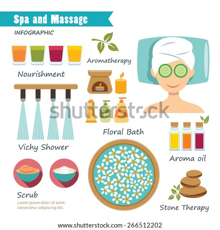 spa and massage  infographic - stock vector