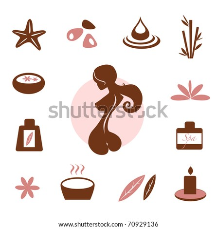 Spa and wellness icon collection - brown. Vector Illustration.