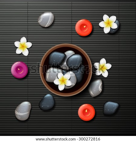 spa background with tropical flowers and stone spa, candle - stock vector
