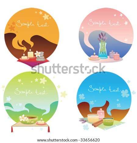 spa banners set - stock vector