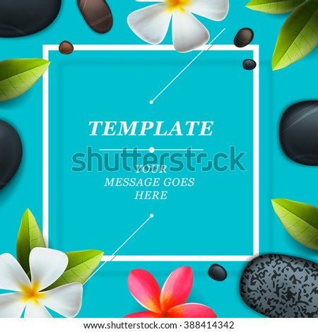 Spa concept background - Zen massage stones with frangipani plumeria flower, vector illustration. - stock vector
