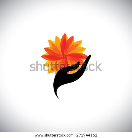 spa concept graphic with woman hand & flower - vector icon. This also represents beauty business, rejuvenation & healing centers, luxury resorts, alternative therapy, recreation, relaxation, leisure - stock vector