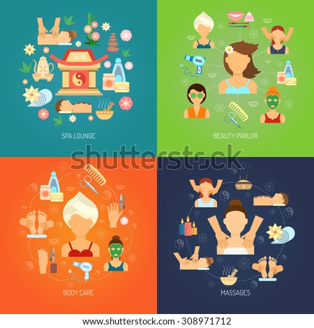 Spa design concept set with body care and massage flat icons isolated vector illustration - stock vector