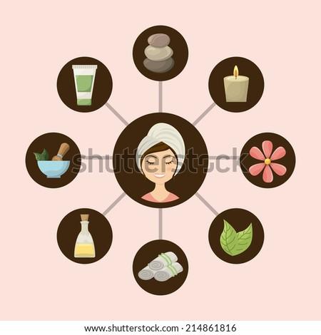 spa design over pink background vector illustration - stock vector