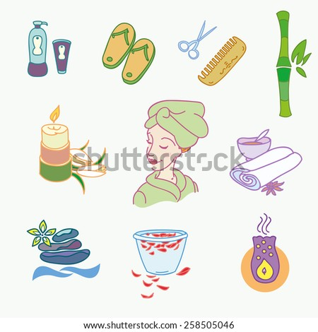 Spa doodle hand drawn sketch  icons set with  towels aroma candles  vector illustration. - stock vector
