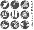 spa  flat gray monochrome  button set manicure pedicure hair treatment - stock vector