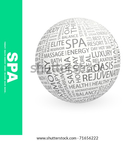 SPA. Globe with different association terms. Wordcloud vector illustration. - stock vector