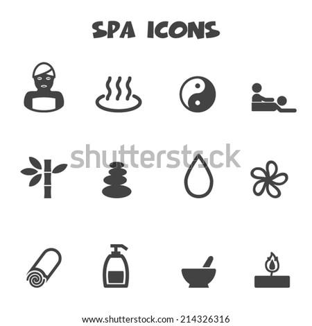 spa icons, mono vector symbols - stock vector