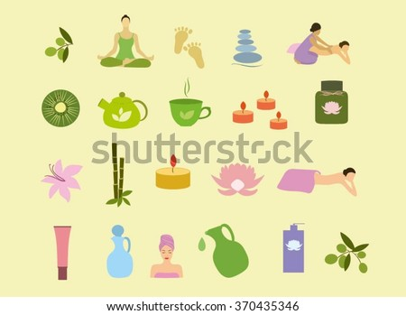 Spa icons vector set. Spa beauty vector clip art. Spa drawing collection of face mask, bamboo, candle, lotus, massage, yoga, woman, meditation, beauty.Vector icons for massage salon, spa center.