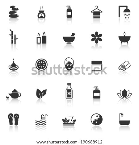 Spa icons with reflect on white background, stock vector - stock vector