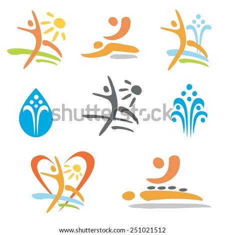 Spa massage nudism icons. Set of colorful icons of massage, spa, nudism and relax . Vector illustration.