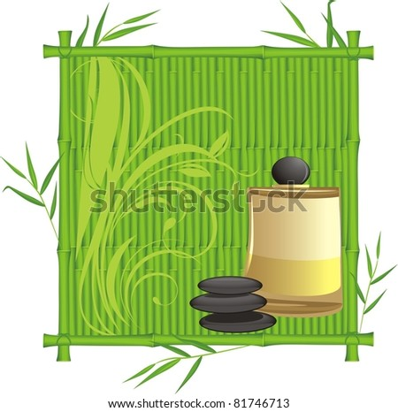 Spa oil in the bamboo frame. Vector - stock vector