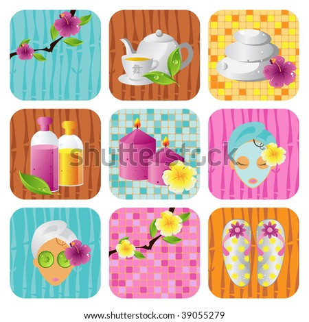 Spa salon icon vector set, health and beauty series - stock vector