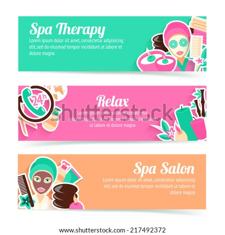 Spa salon therapy relax natural products beauty care horizontal banner set isolated vector illustration - stock vector