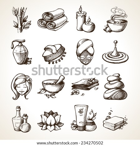 Spa Sketch Decorative Icons Set With Bamboo Towels Aroma Candles Isolated Vector Illustration - stock vector